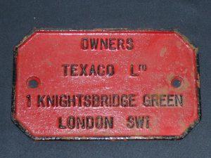 Texaco Ltd. wagon plate Image