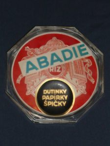 Vintage Abadie Riz glass shop counter change tray Image
