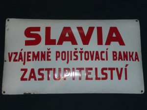 Slavia insurance vintage enamel sign Image