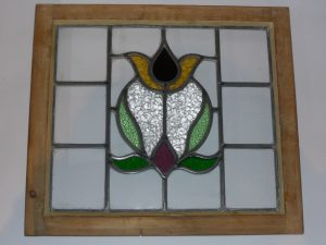 Antique stained glass window Image